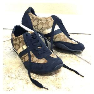 Coach signature sneakers - tan & navy blue